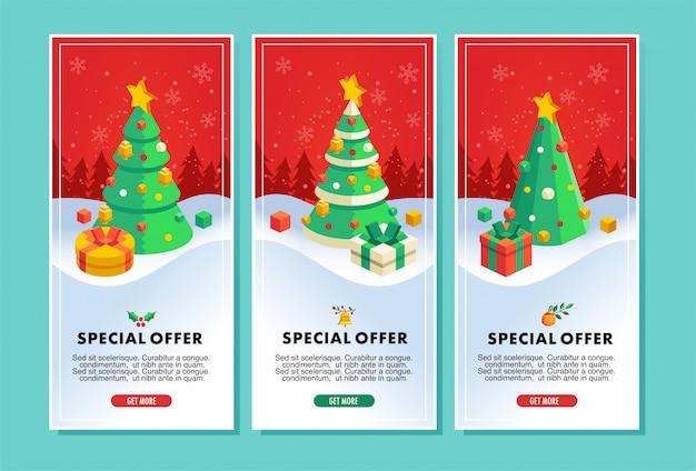 Folleto de venta de navidad o ilustración de vector de banner con ilustración de árbol de navidad y regalo Vector Premium
