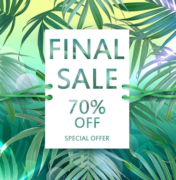 Folleto de venta de vector con hojas de palmeras tropicales. Vector Premium