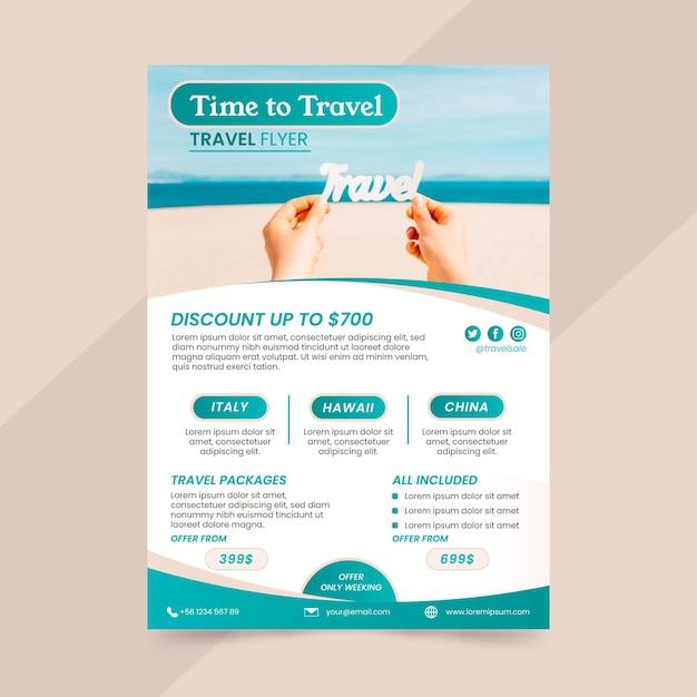Folleto de venta de viajes Vector Premium