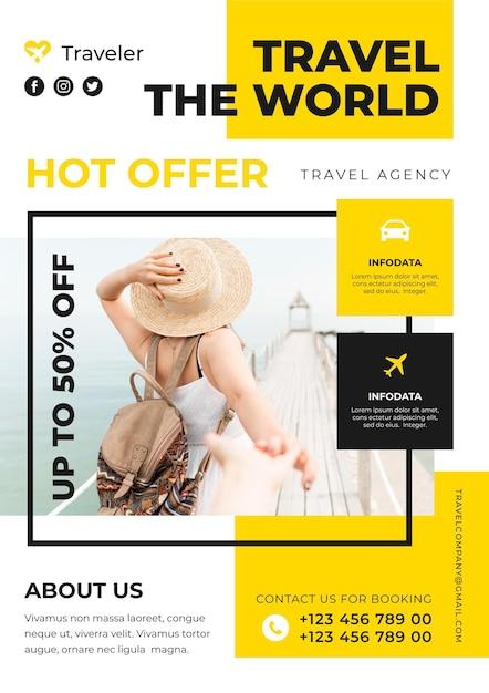 Folleto de venta de viajes vector gratuito