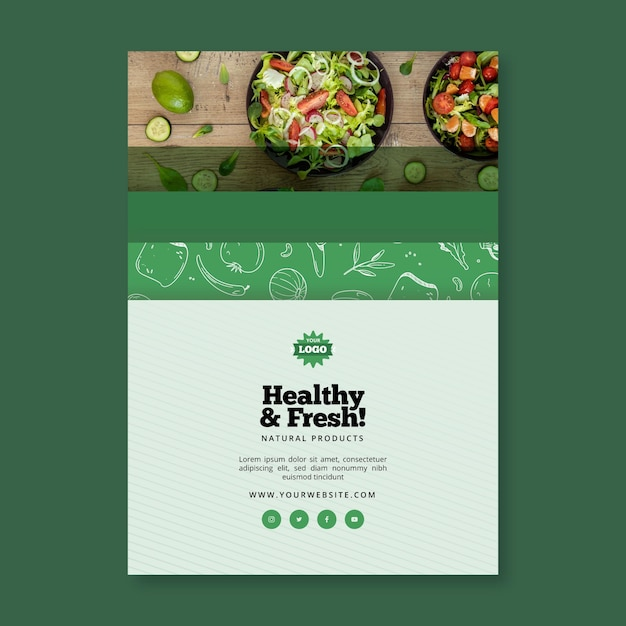 Folleto vertical de alimentos saludables y bio vector gratuito