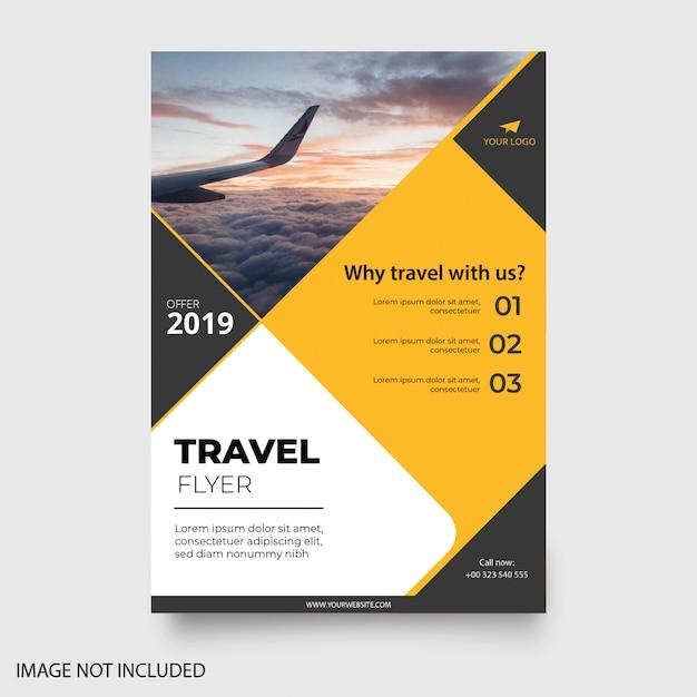 Folleto de viaje amarillo moderno vector gratuito