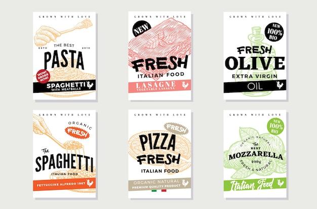 Folletos de comida italiana dibujados a mano vector gratuito
