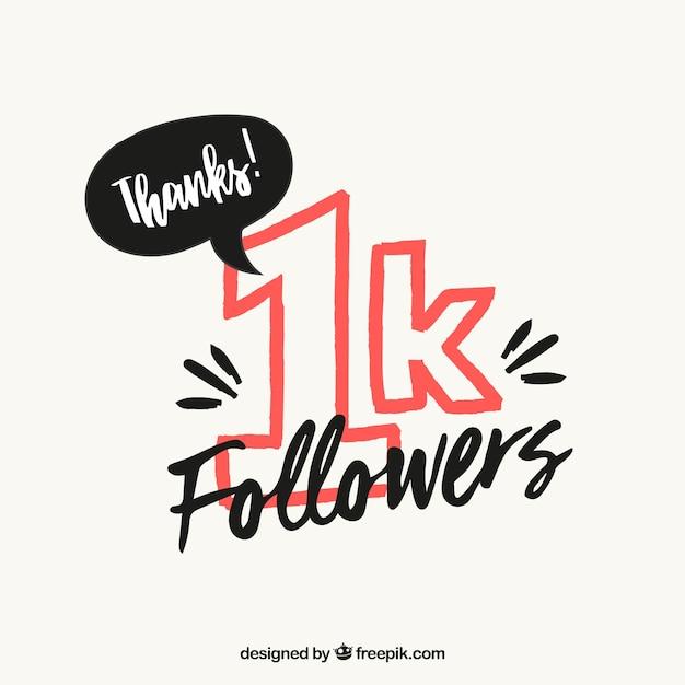 Fondo de 1k de seguidores vector gratuito