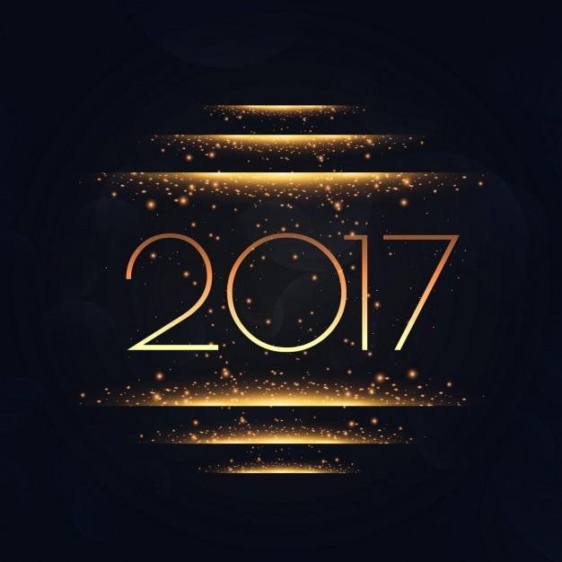 Fondo de 2017 con luces doradas vector gratuito