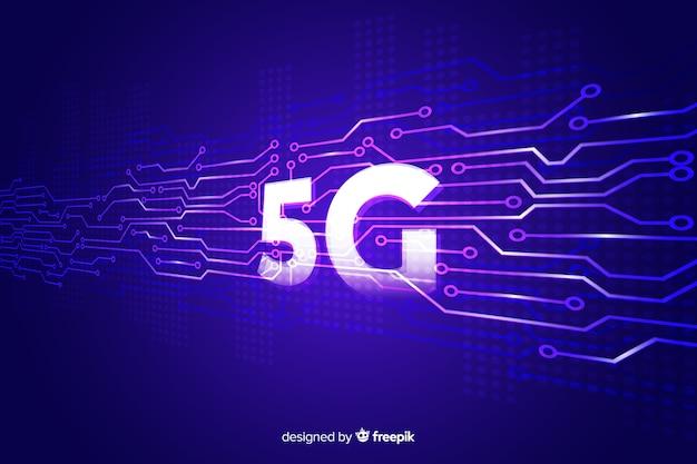 Fondo 5g concepto violeta vector gratuito