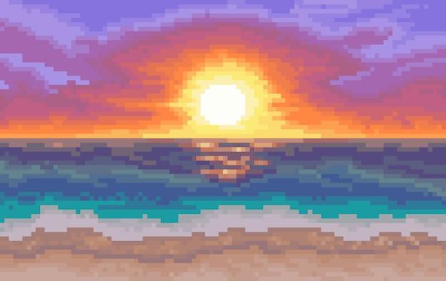 Fondo de 8 bits. playa con sol y mar Vector Premium