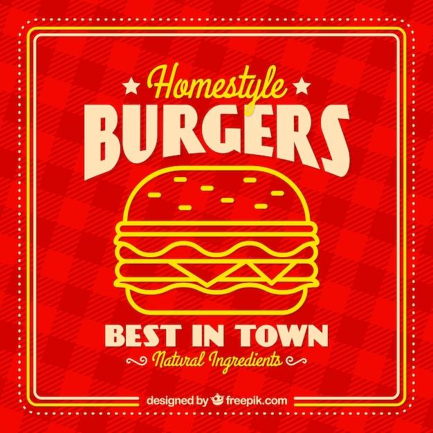 Fondo a cuadros con hamburguesa sabrosa en diseño plano | Descargar ...
