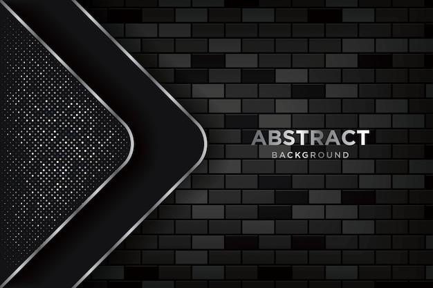 Fondo abstracto en 3d con paredes de ladrillo oscuras realistas Vector Premium