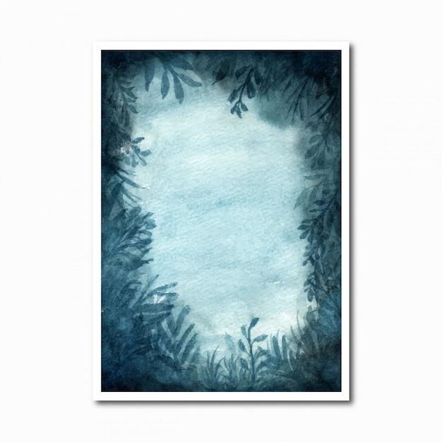 Fondo abstracto acuarela bosque con flores azules Vector Premium