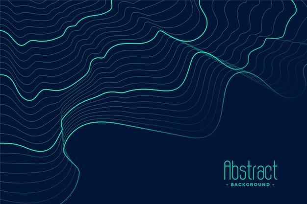 Fondo abstracto azul con líneas de contorno turquesa vector gratuito
