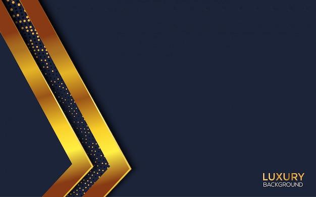 Fondo abstracto azul con luz dorada premium Vector Premium