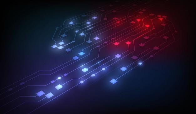 Fondo abstracto del blockchain de las redes del circuito Vector Premium