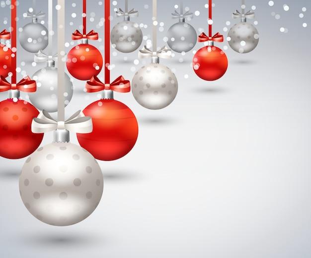 Fondo abstracto de bolas de navidad vector gratuito