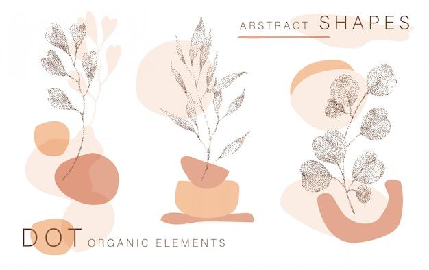 Fondo abstracto del cartel formas mínimas, medio tono deja elementos de diseño de punto, hoja. doodlies lámina, formas terracota. Vector Premium