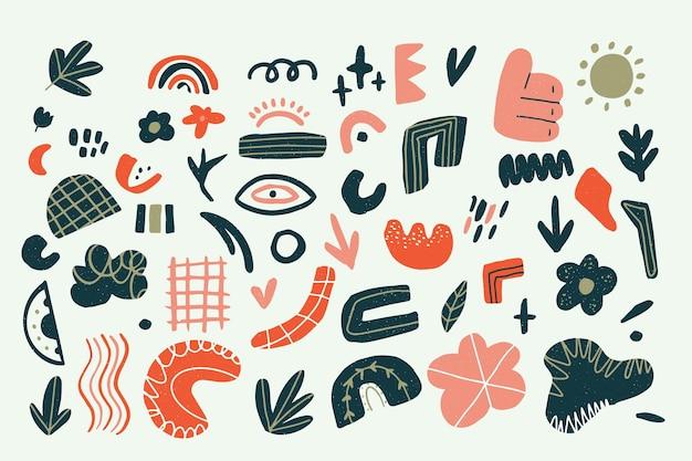 Fondo abstracto con colección de diferentes elementos vector gratuito