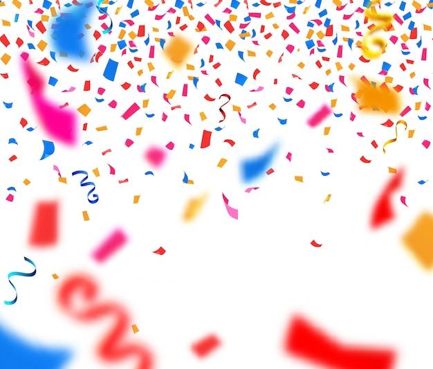 Fondo abstracto con confeti de papel colorido vector gratuito
