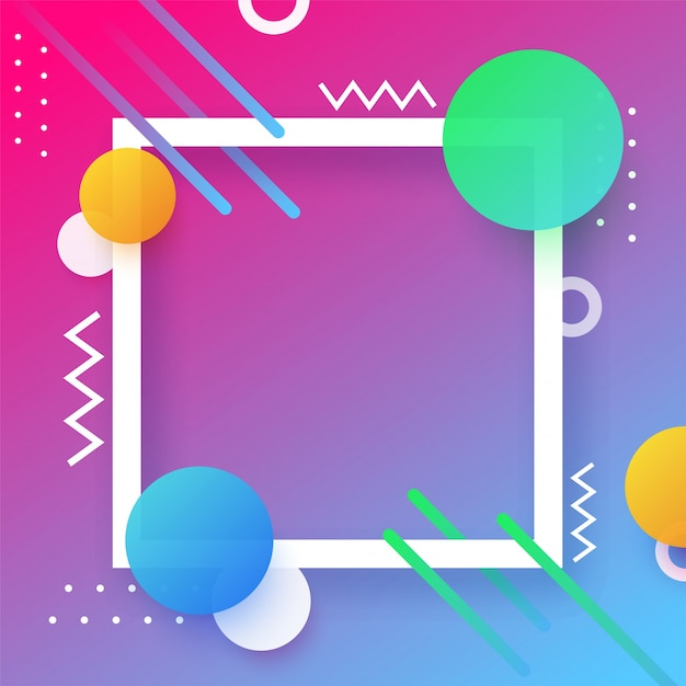 Fondo abstracto creativo con el marco cuadrado. Vector Premium