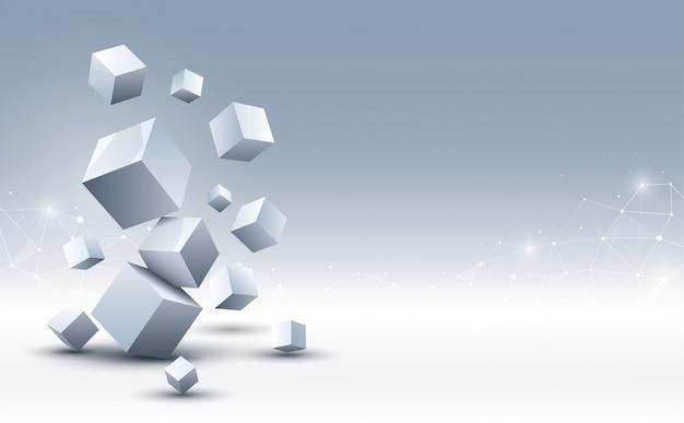 Fondo abstracto de cubos 3d. fondo de ciencia y tecnología. fondo abstracto Vector Premium
