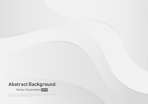 Fondo abstracto de la curva del color del gradiente blanco y gris. Vector Premium