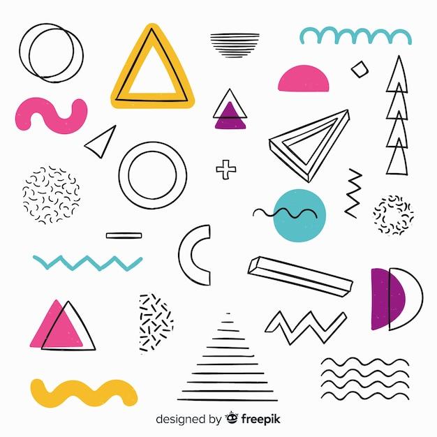 Fondo abstracto dibujado de formas geométricas vector gratuito
