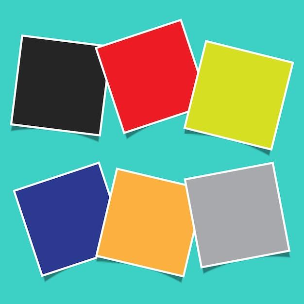 Fondo abstracto con un diseño de montaje de marco de fotos en blanco vector gratuito