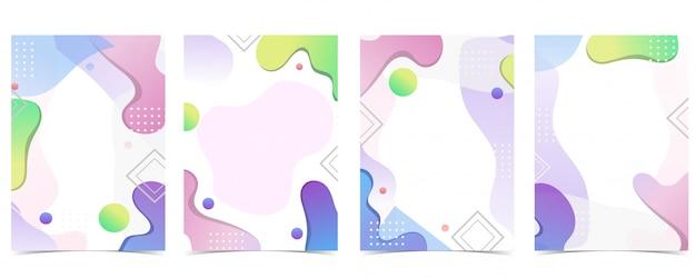 Fondo abstracto geométrico rosa, azul, verde, naranja con forma dinámica Vector Premium