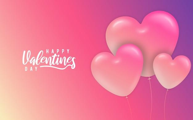 Fondo abstracto de globos de corazones de color rosa de san valentín Vector Premium