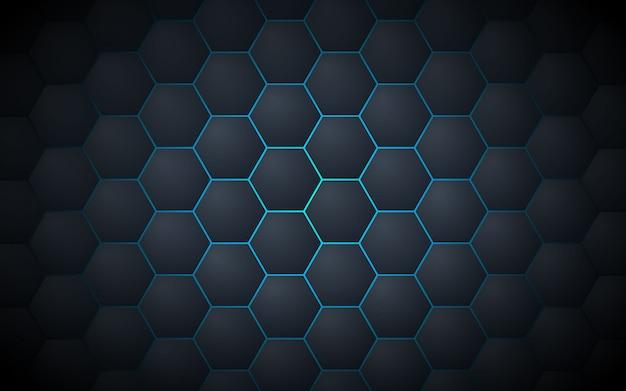 Fondo abstracto gris oscuro del modelo del hexágono Vector Premium