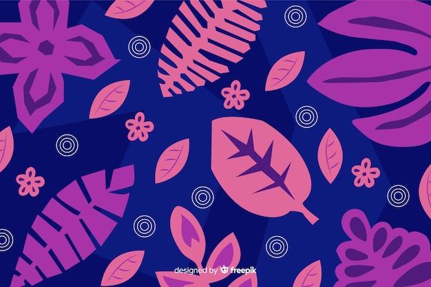 Fondo abstracto hojas tropicales dibujadas a mano vector gratuito