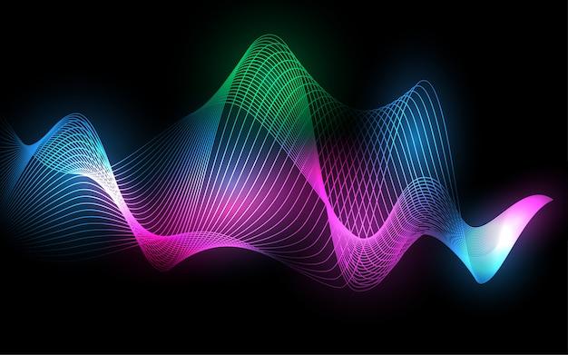 Fondo abstracto de línea de alambre de onda Vector Premium