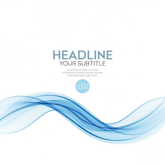 Fondo abstracto, líneas onduladas transparentes azules para folleto, sitio web, diseño de volante Vector Premium