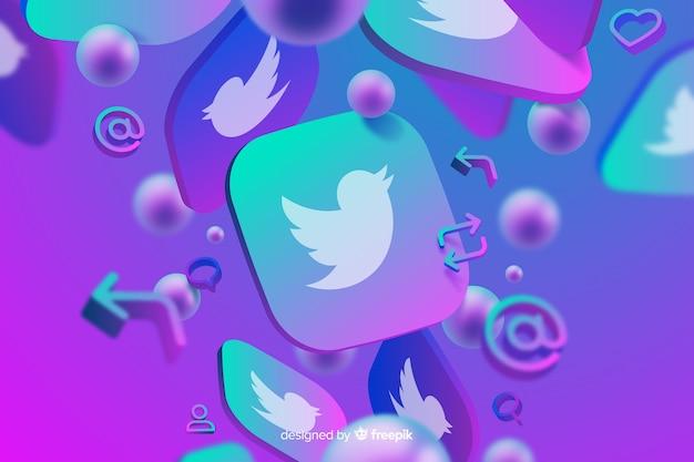 Fondo abstracto con logo de twitter Vector Premium