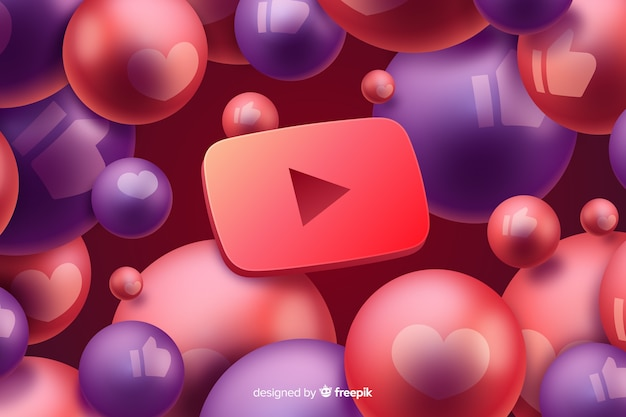 Fondo abstracto con logo de youtube Vector Premium