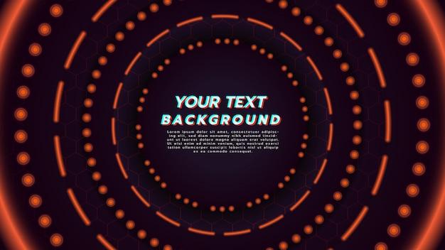 Fondo abstracto con la luz de neón anaranjada en la disposición del círculo. ilustración sobre el concepto de la tecnología y el fondo de la música moderna. Vector Premium