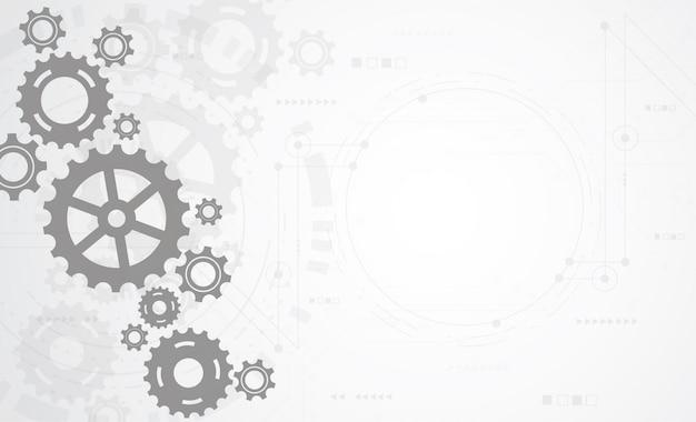 Fondo abstracto del mecanismo de la rueda de engranaje. Vector Premium
