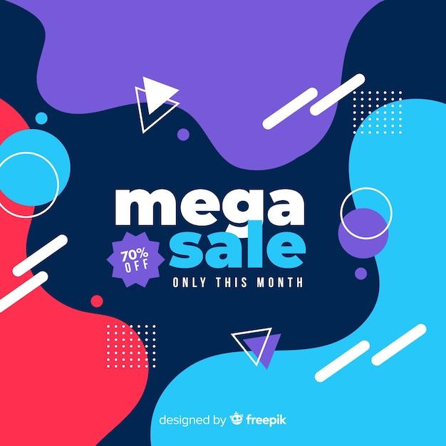 Fondo abstracto mega venta con elementos de memphis vector gratuito
