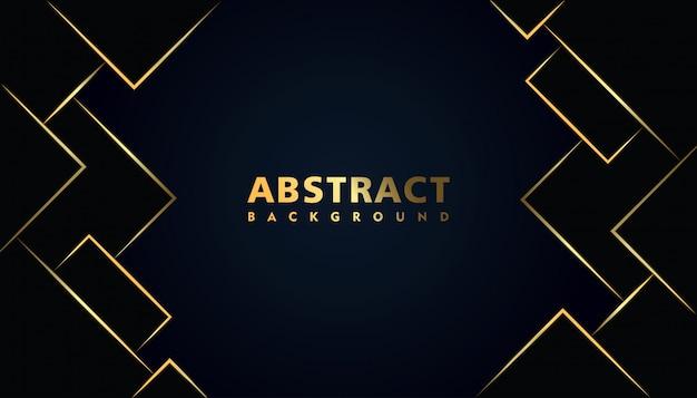 Fondo abstracto moderno negro con efecto oro cuadrado Vector Premium