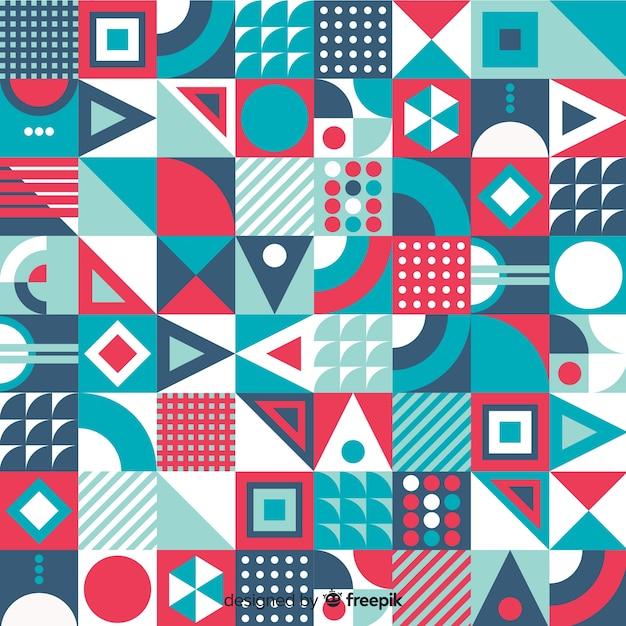 Fondo abstracto con mosaico geométrico colorido vector gratuito
