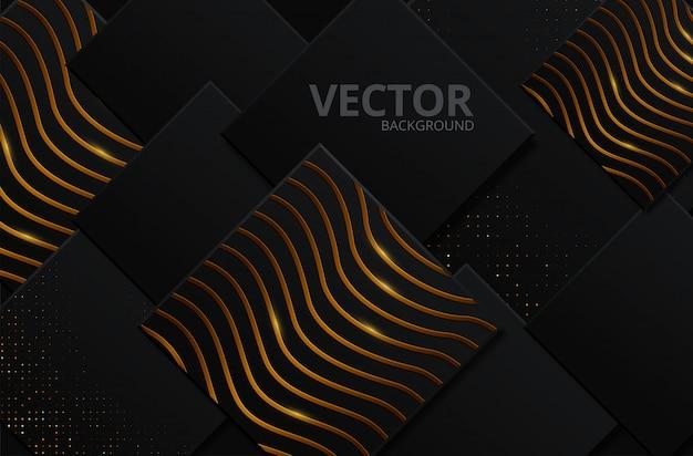 Fondo abstracto negro y oro Vector Premium