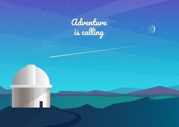Fondo abstracto de la noche. observatorio, observación de estrellas, cometas, la luna, la vía láctea. paisaje de montaña. viajes, aventura, turismo, senderismo. . Vector Premium