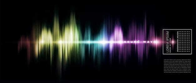 Fondo abstracto con una onda de sonido de color Vector Premium