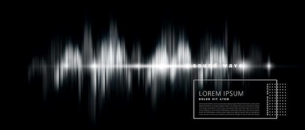 Fondo abstracto con una onda de sonido, versión en blanco y negro. Vector Premium
