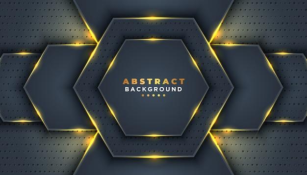 Fondo abstracto oscuro con capas superpuestas. decoración de elemento de puntos de brillos dorados. Vector Premium