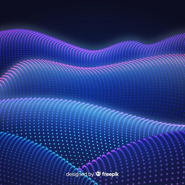 Fondo abstracto con partículas circulares en degradado vector gratuito