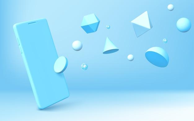 Fondo abstracto con smartphone realista y formas geométricas 3d se dispersan sobre fondo azul. hemisferio, octaedro, esfera, cono, cilindro e icosaedro con representación de teléfono móvil vectorial vector gratuito
