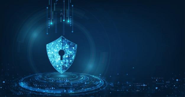 Fondo abstracto de tecnología digital de seguridad Vector Premium