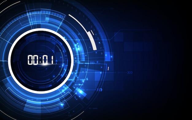 Fondo abstracto de tecnología futurista con temporizador de número digital Vector Premium