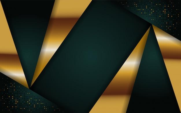 Fondo abstracto verde marino moderno con línea dorada Vector Premium