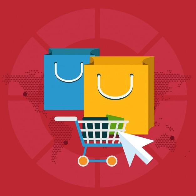 Fondo acerca del comercio electrónico vector gratuito
